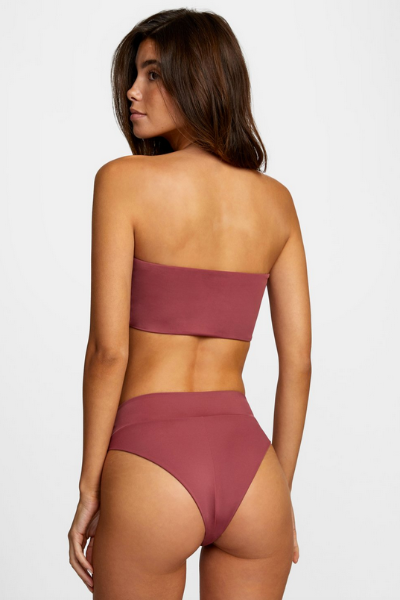 Solid High Rise Bikini Rise Bottom - Plum Berry