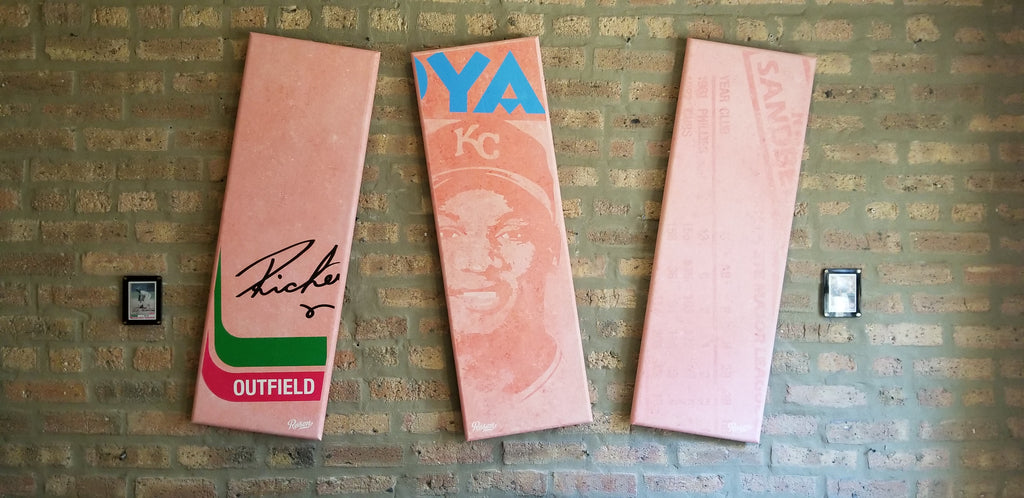 Art gallery wall of giant gum stick baseball card artwork by Matthew Lee Rosen