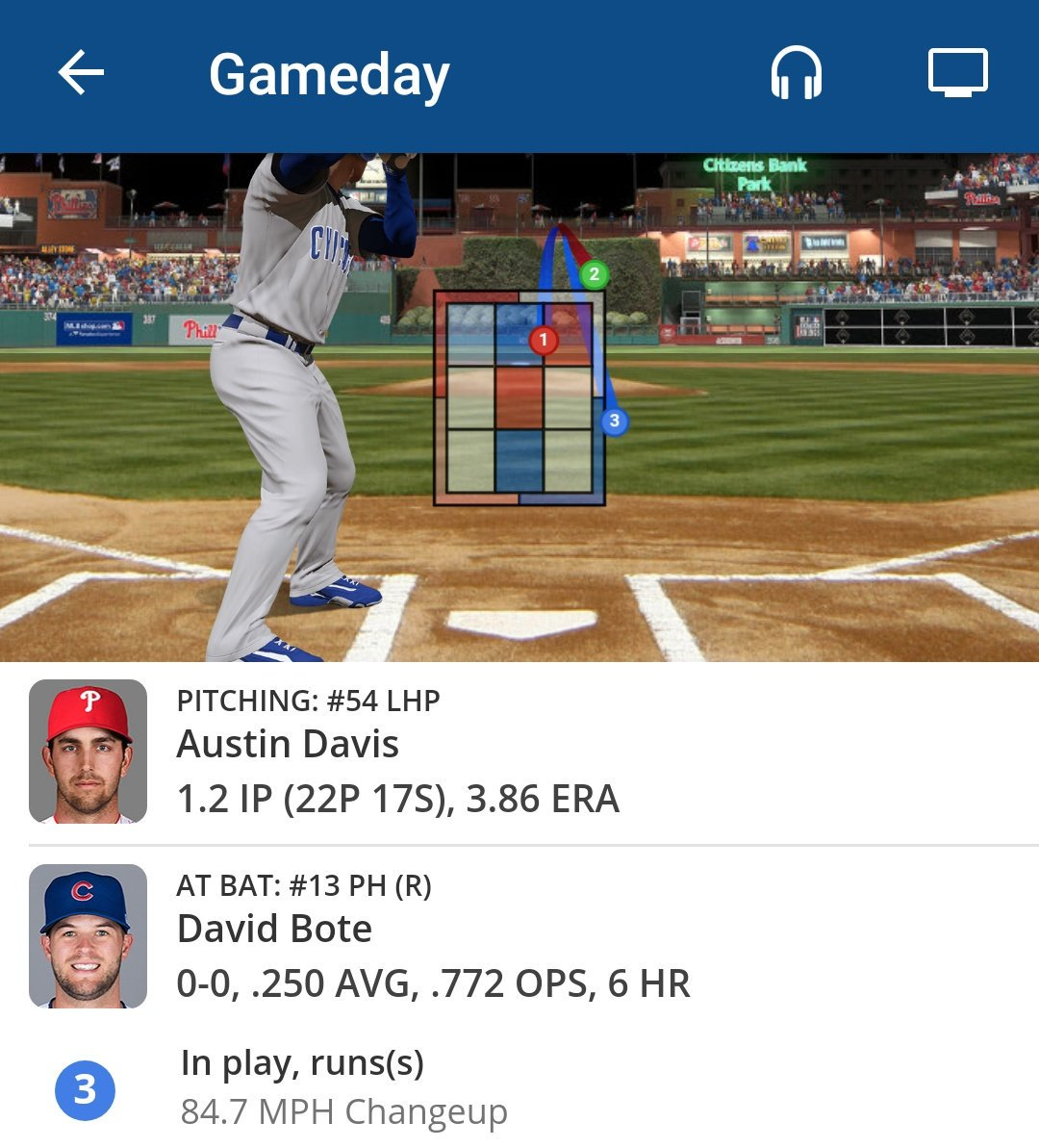 MLB Gameday in play, run(s)