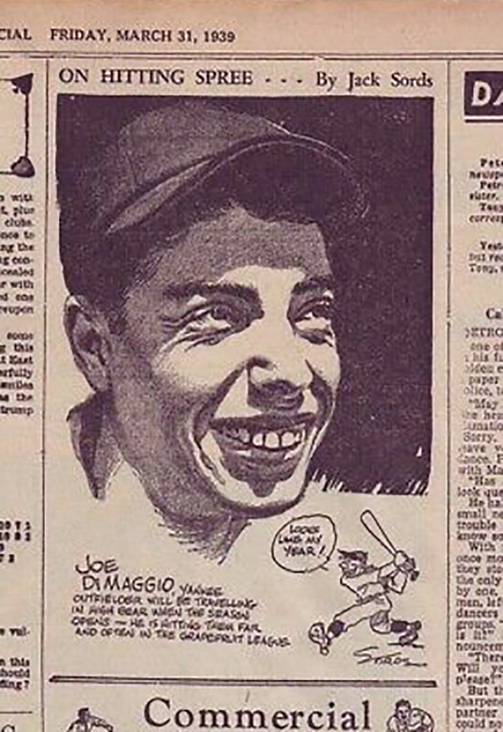 Joe DiMaggio newspaper clipping