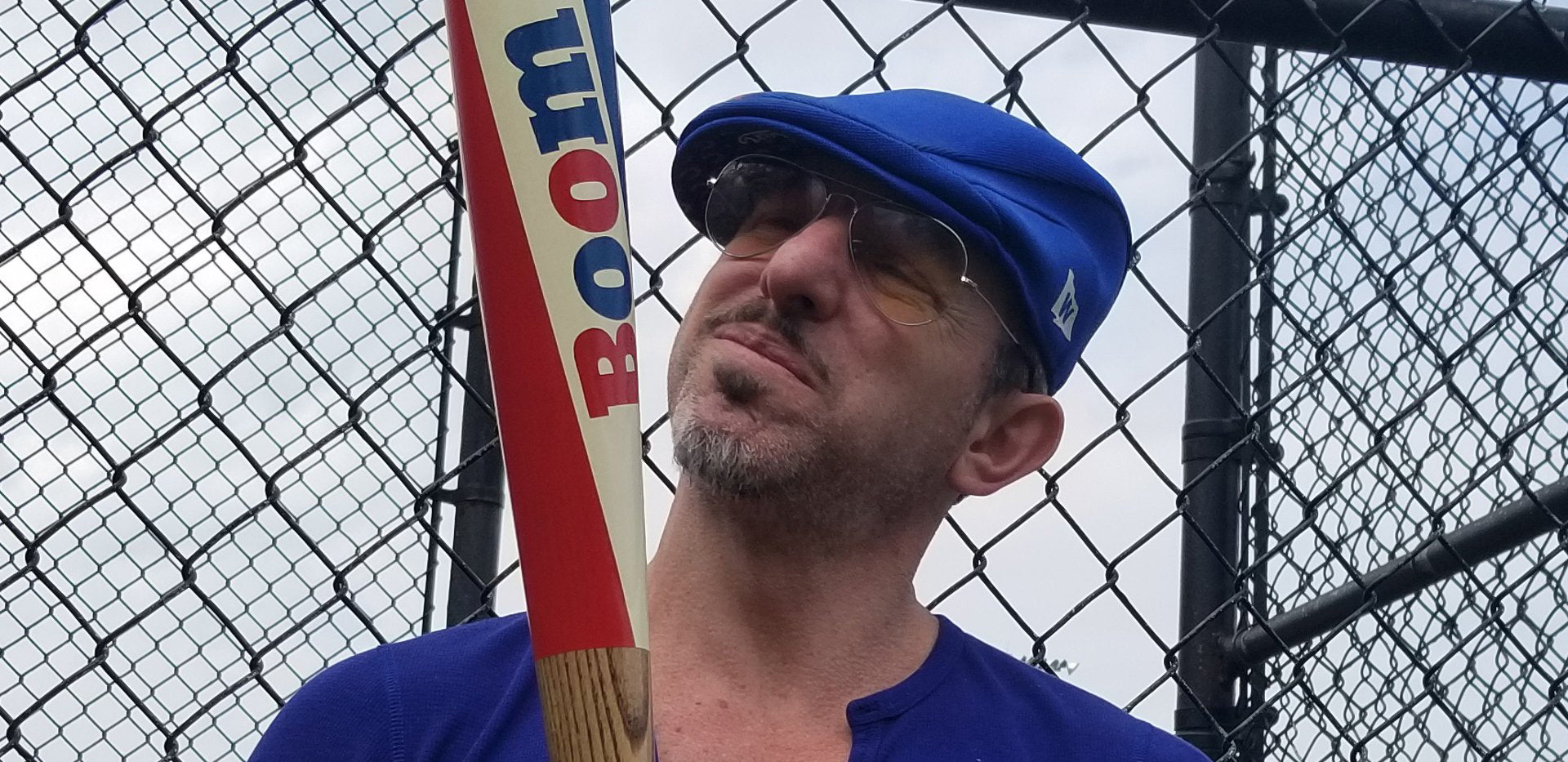 Artist Matthew Lee Rosen and his boom stick baseball bat
