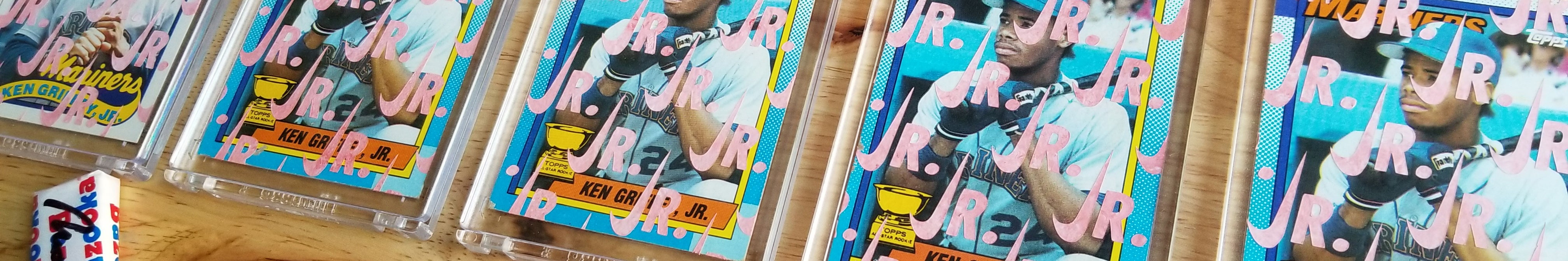 Hand-painted gum sticks on old Topps baseball cards by artist Matthew Lee Rosen