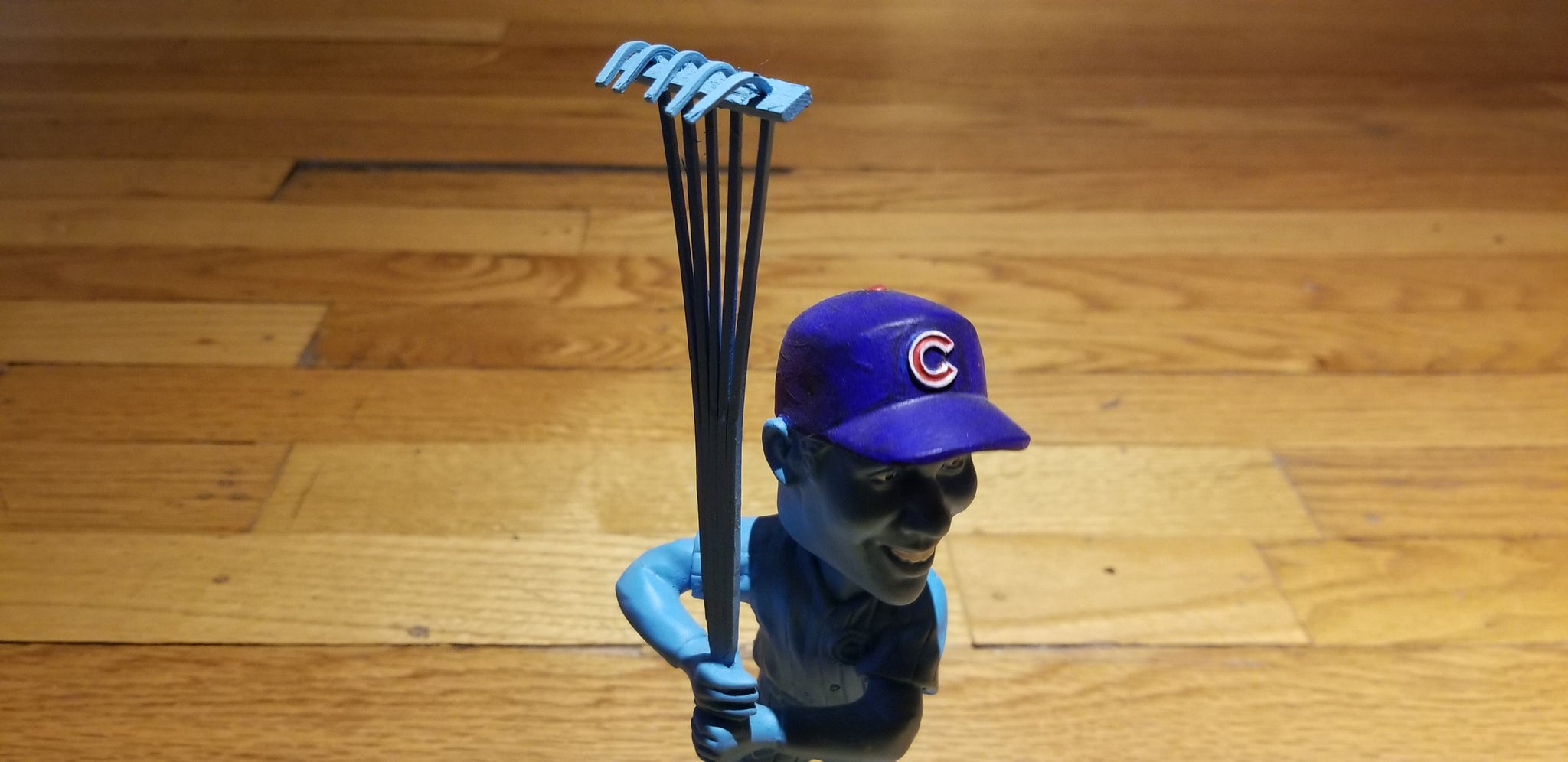 "Baseball card art by Matthew Lee Rosen (aka Matthew Rosen) - Ernie Banks ""Raking"" Bobblehead"
