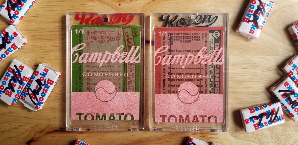 Baseball card art by Matthew Lee Rosen - Bill Campbell's Soup
