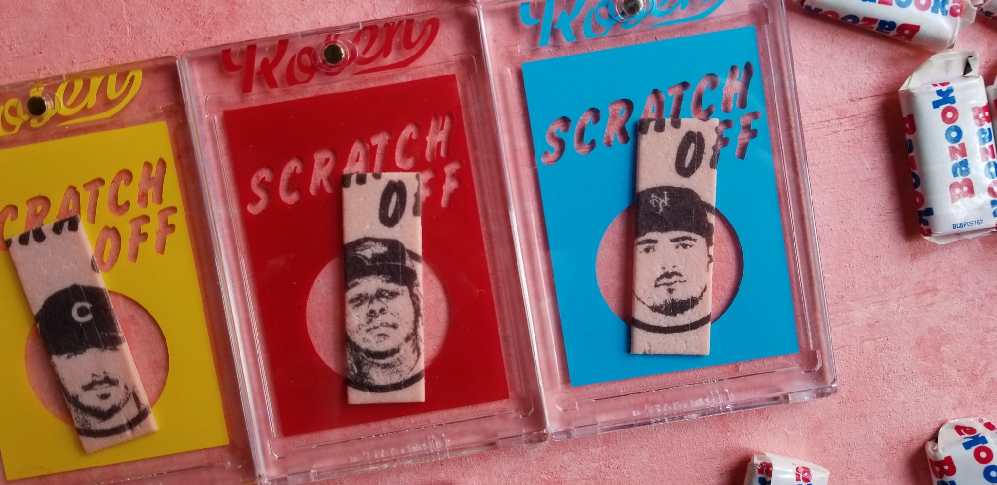 Baseball card art by Matthew Lee Rosen - Topps Scratch Offs