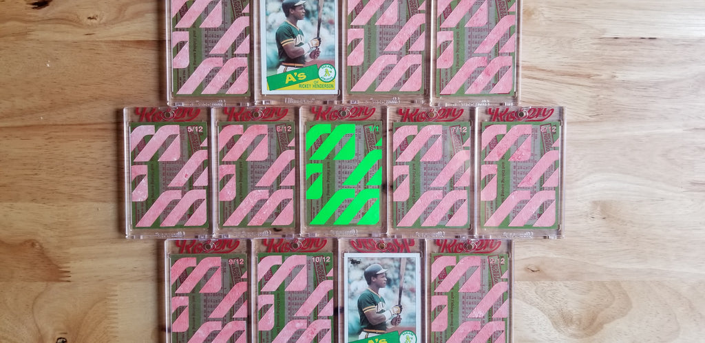 Baseball card art by Matthew Lee Rosen - Rickey Henderson Mizuno
