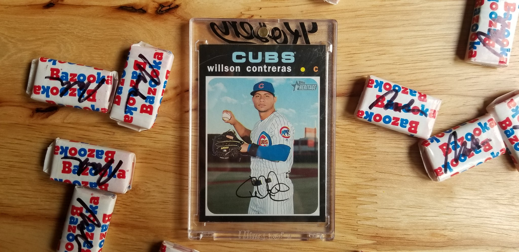 Baseball card art by Matthew Rosen - Willson Contreras Bat Flip