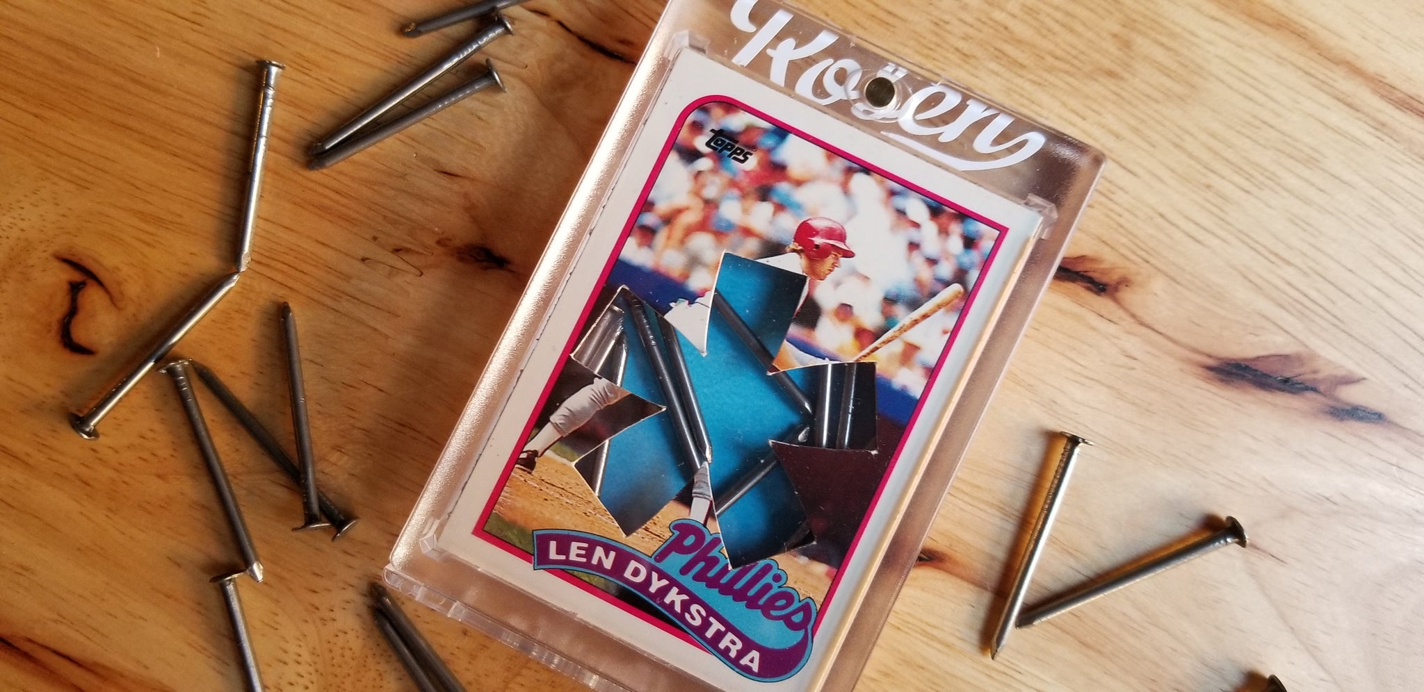 Baseball card art by Matt Rosen - Lenny Dykstra package of Nails