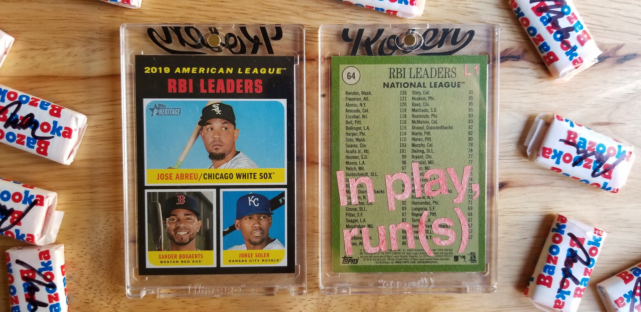 Baseball card art by Matthew Rosen - In play, run(s)