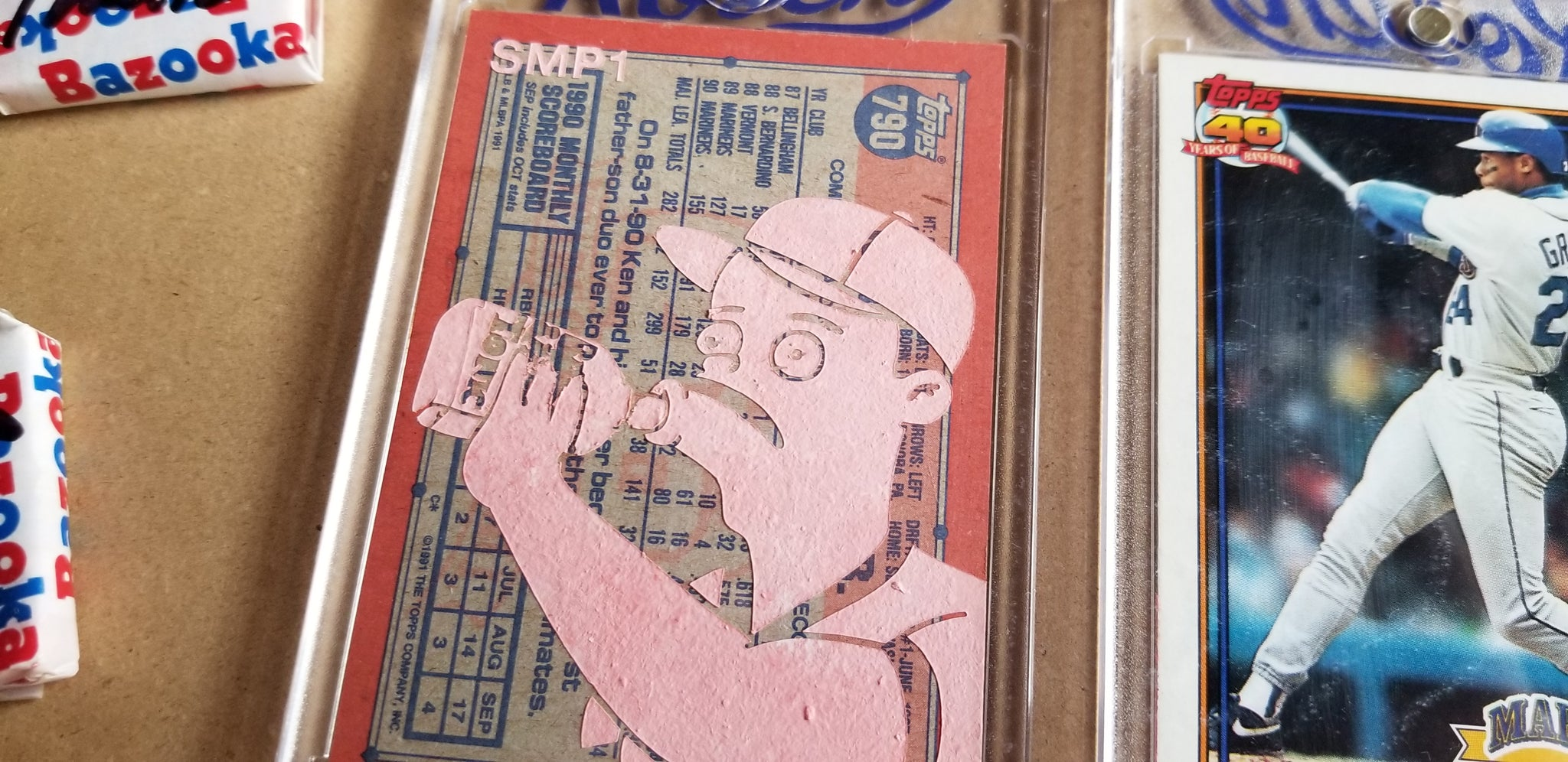 Baseball card art by Matthew Lee Rosen (aka Matthew Rosen) - Simpsons Ken Griffey Jr.