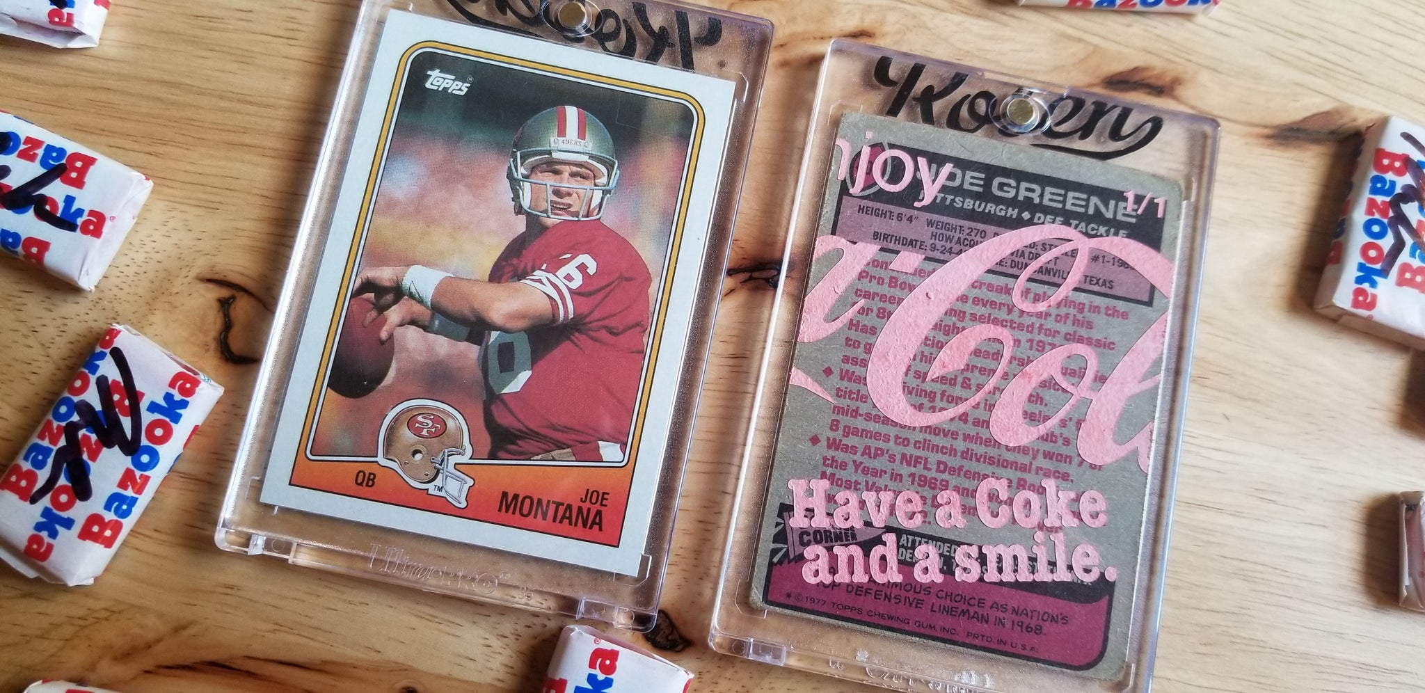 Baseball card art by Matthew Rosen - Joe Montana & Mean Joe Greene