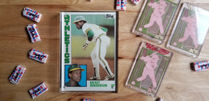 Baseball card art by Matthew Lee Rosen (aka Matthew Rosen) - Rickey Henderson Rookie Card