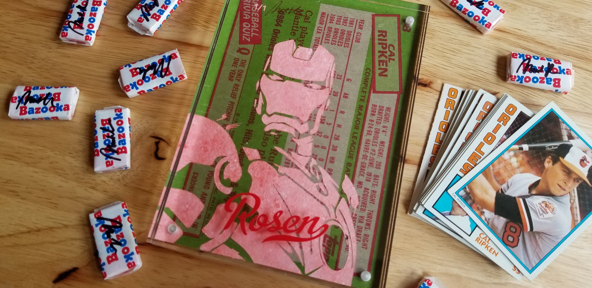 Baseball card art by Matthew Lee Rosen (aka Matthew Rosen) - Cal Ripken Jr. Iron Man Jumbo