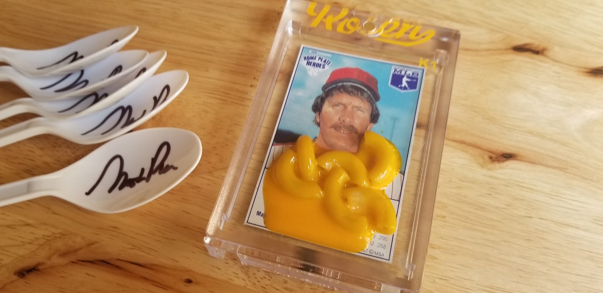 Baseball card art by Matthew Rosen - Kraft Mac & Cheese