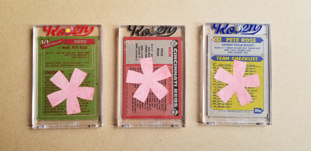 Baseball card art by Matthew Lee Rosen (aka Matthew Rosen) - Gum Stick Collector Cards - Pete Rose Manager (Asterisks)