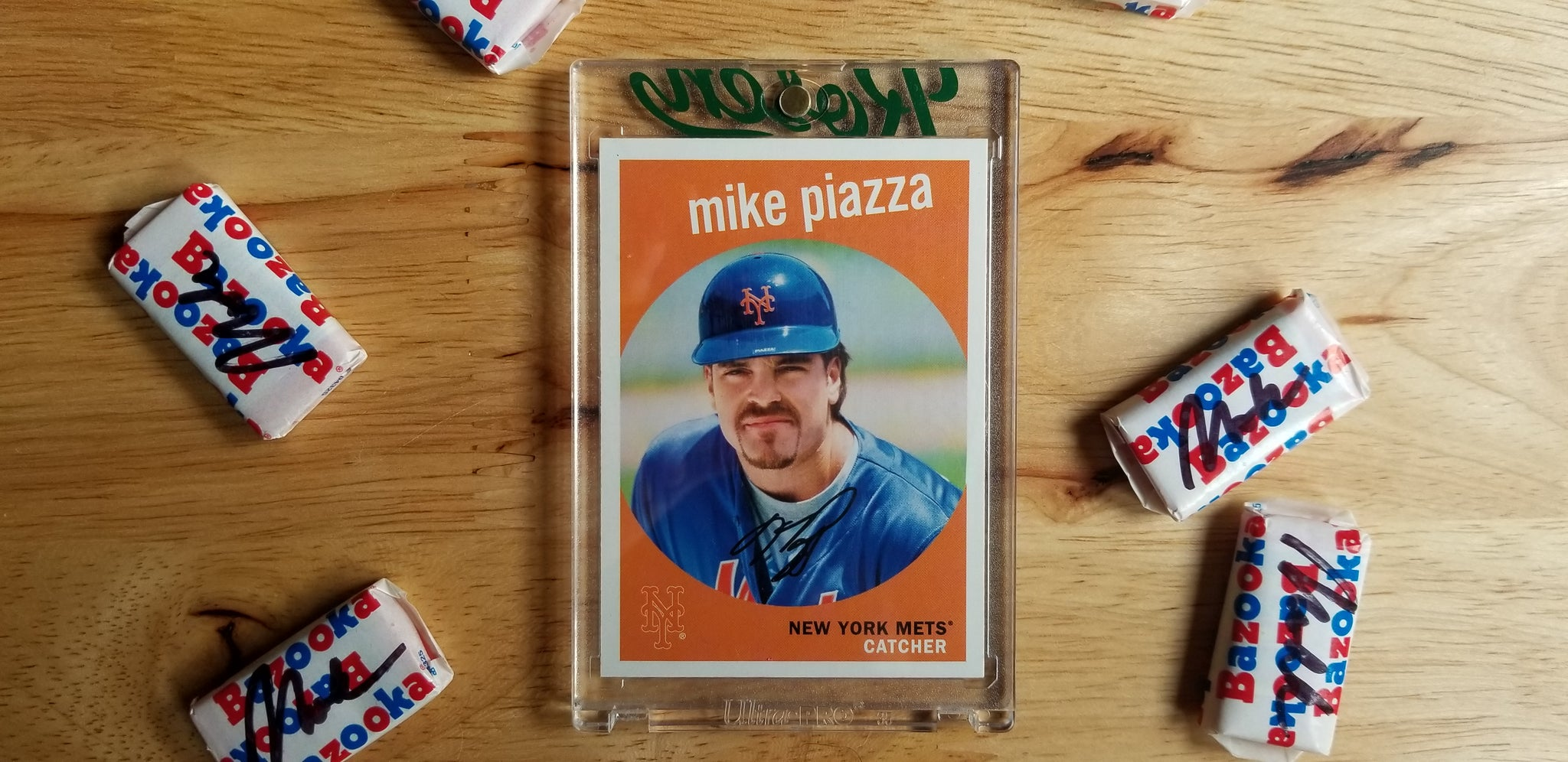 Baseball card art by Matthew Lee Rosen (aka Matthew Rosen) - Mike Piazza