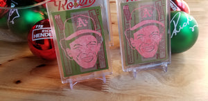 Baseball card art by Matthew Rosen - Rickey Henderson Christmas Ornaments