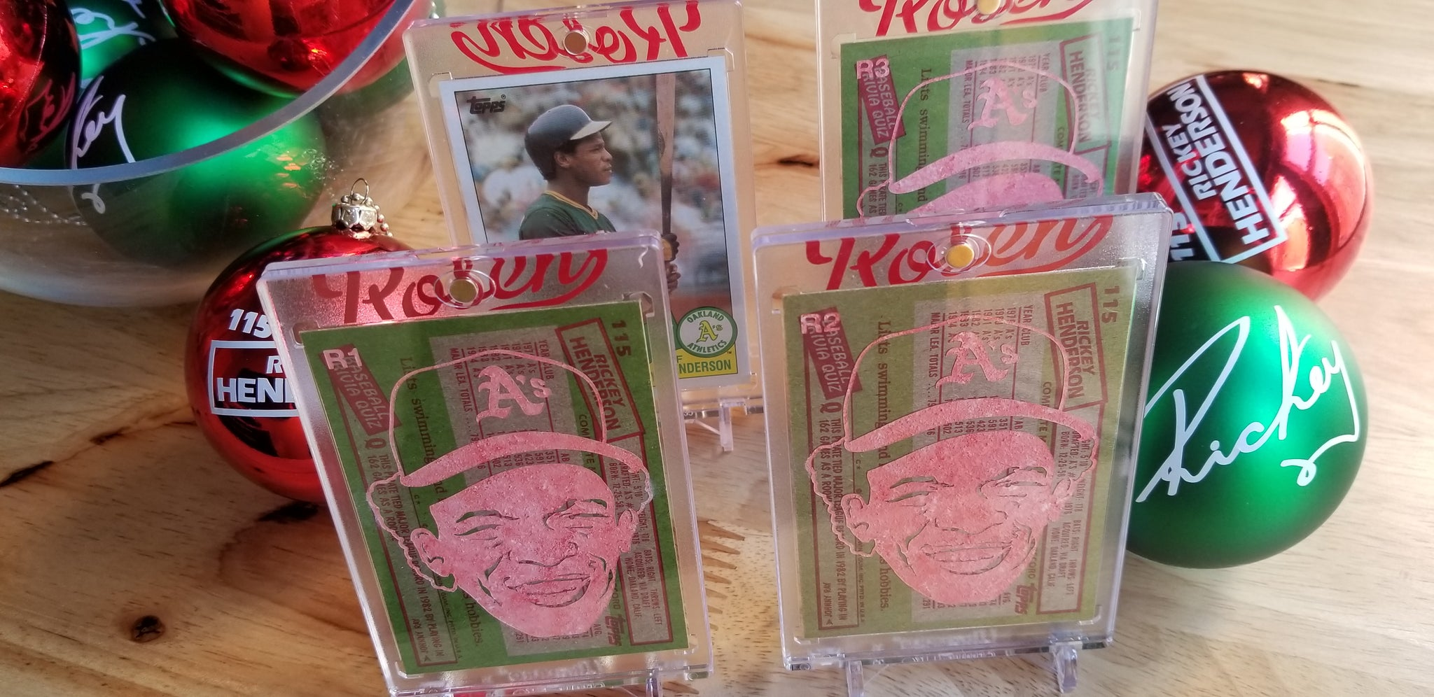 Baseball card art by Matt Rosen - Rickey Henderson Christmas Ornaments