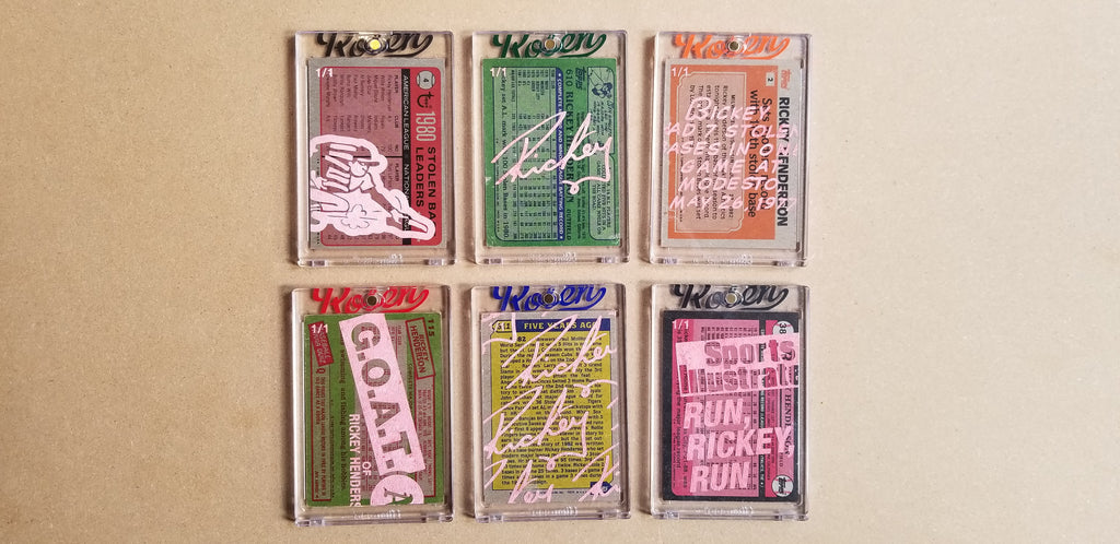 Baseball card art by Matthew Lee Rosen (aka Matthew Rosen) - Gum Stick Collector Cards - Rickey Henderson Series