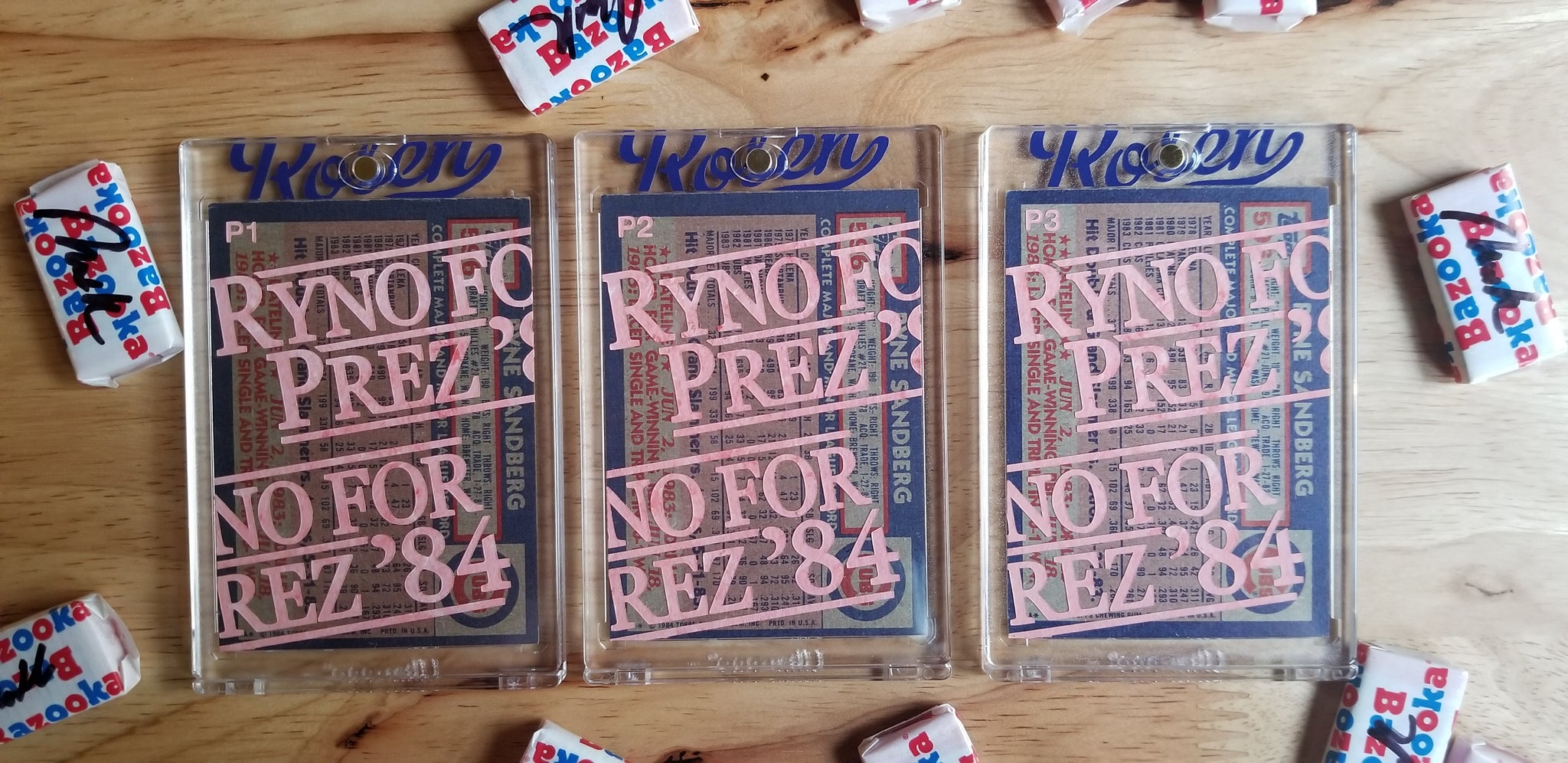 Baseball card art by Matthew Lee Rosen (aka Matthew Rosen) - Ryno for Prez '84