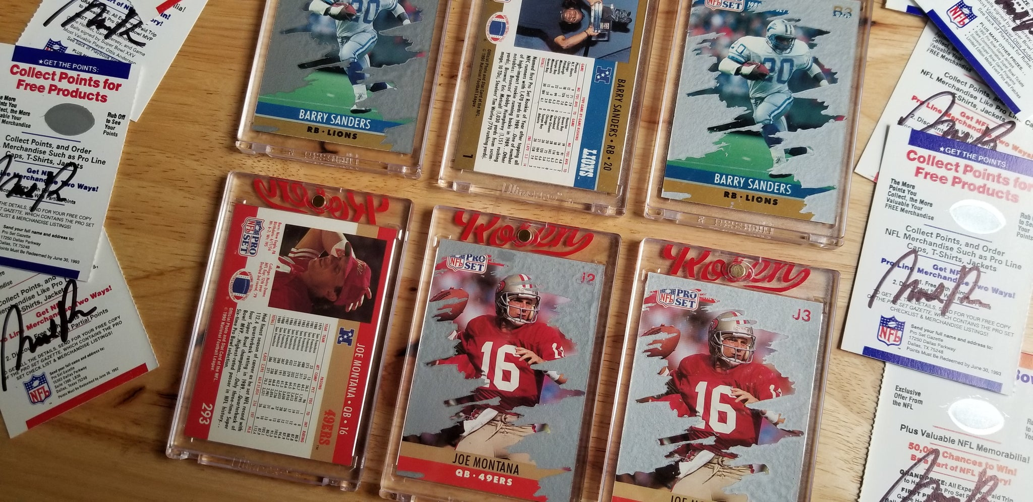Baseball card art by Matthew Rosen - Pro Set NFL Scratch-Offs