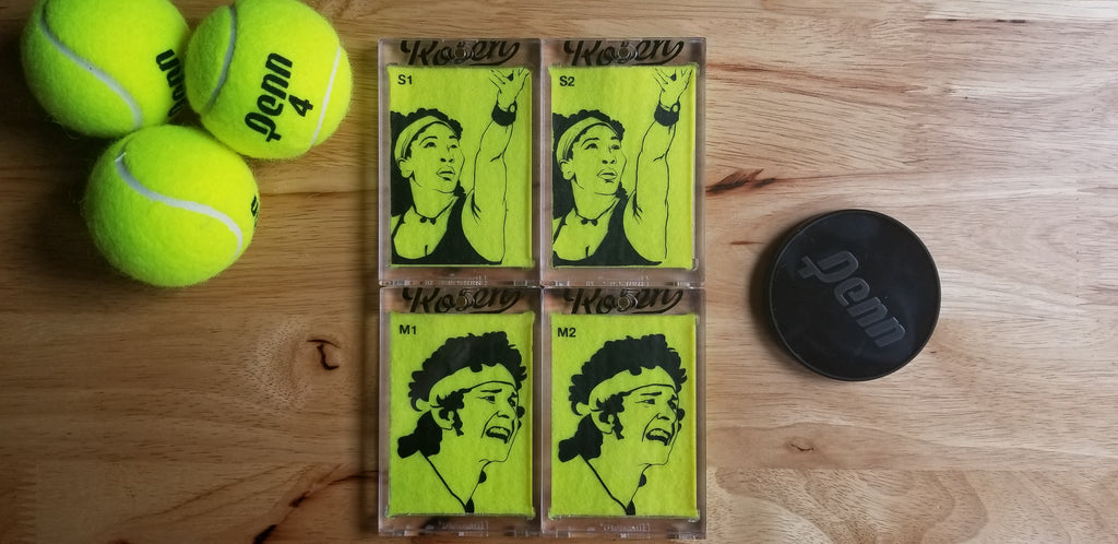 Tennis ball art by Matt Rosen - Serena Williams and John McEnroe