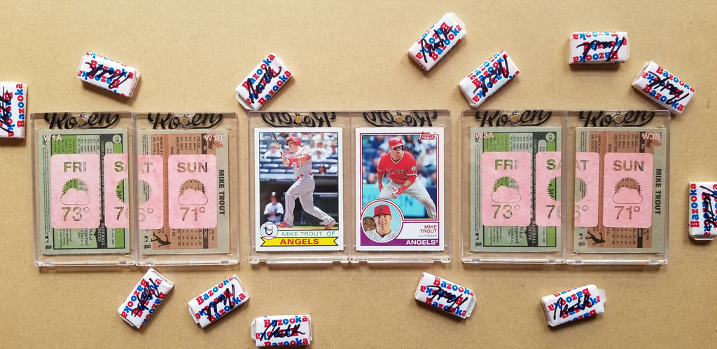 Baseball card art by Matthew Lee Rosen (aka Matthew Rosen) - Mike Trout Weather Forecast (Diptych)