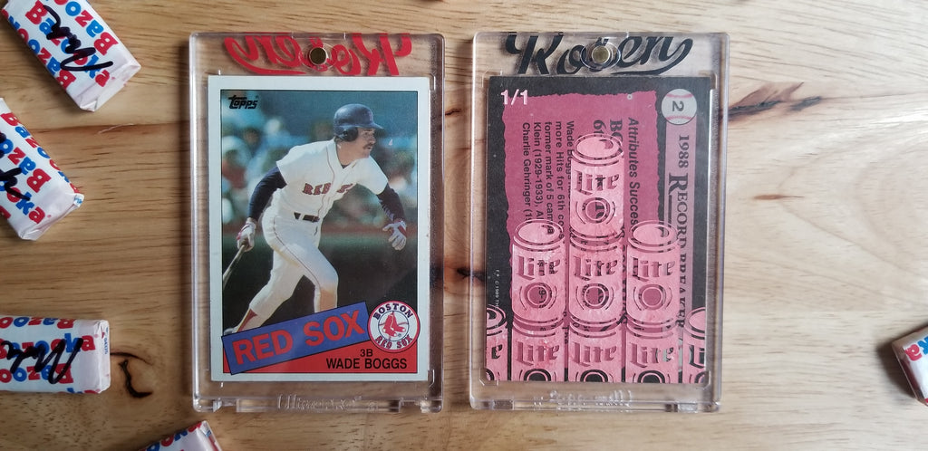 Baseball card art by Matthew Lee Rosen (aka Matthew Rosen) - Gum Stick Collector Cards - Wade Boggs Lite Beer