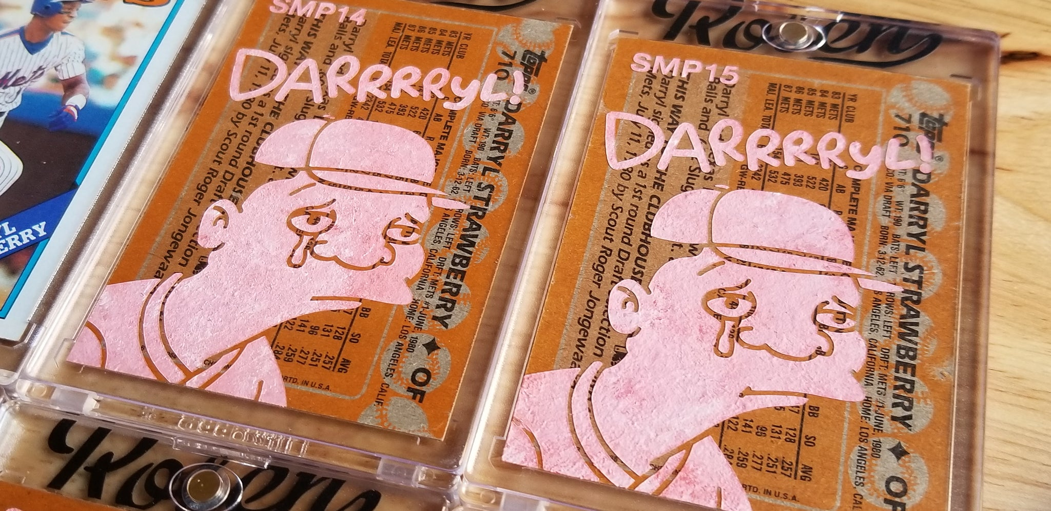 Baseball card art by Matthew Rosen  - Gum Stick Collector Cards - Darrrryl