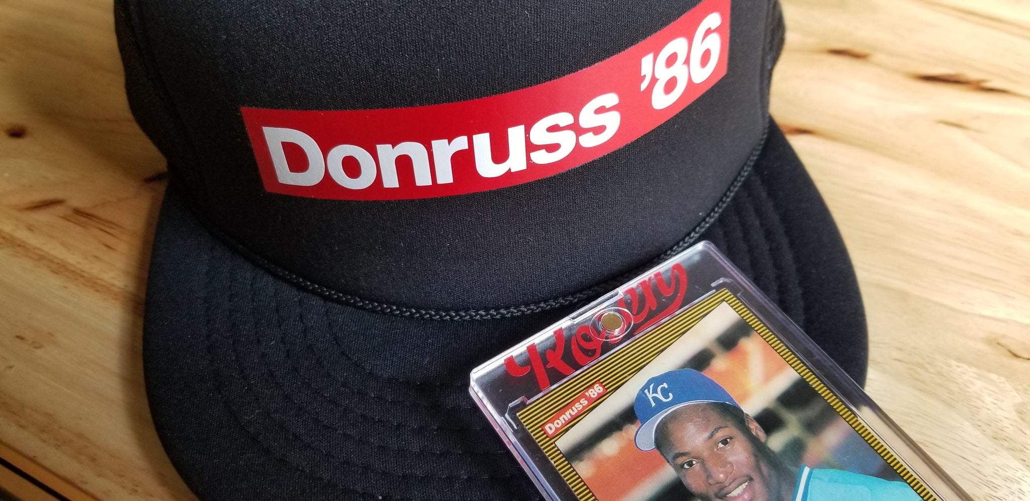 1986 Donruss trucker cap by baseball card artist Matthew Rosen