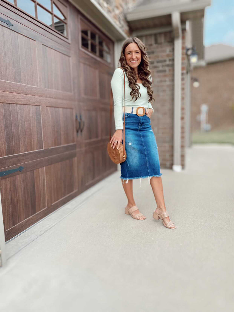 Frayed Unhemmed Jean Skirt