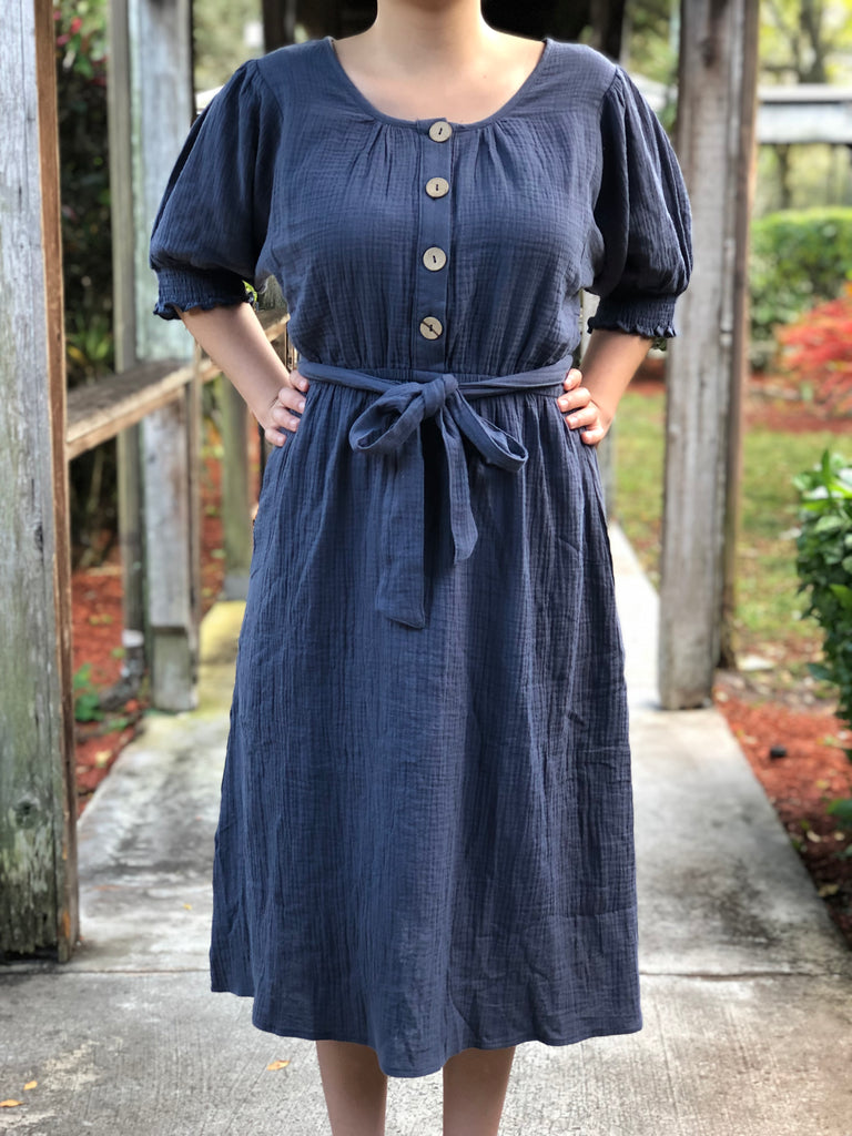 Slate Blue With Buttons Dress