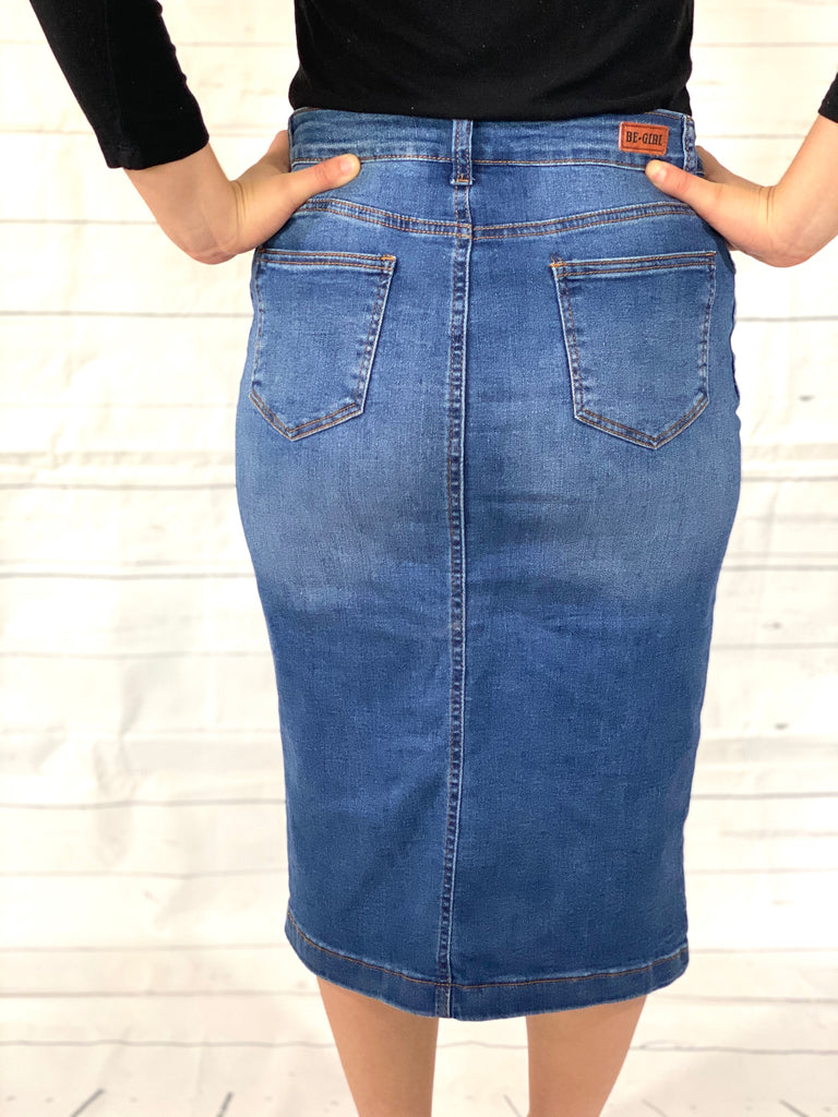 Indigo Wash Denim Skirt With Embroidery Accent