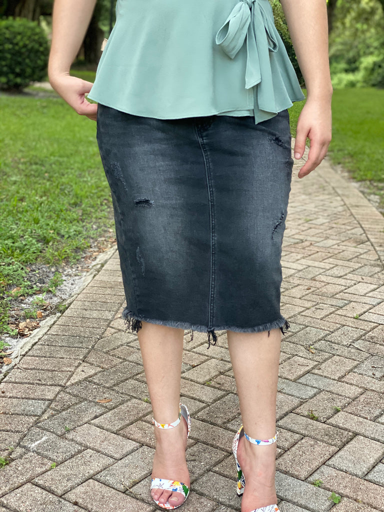 Frayed Unhemmed Midi Jean Skirt