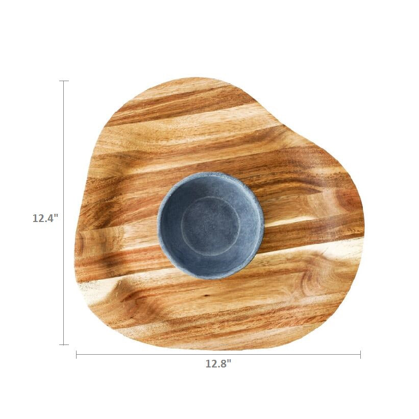 SPARQ Acaciawood Chip/Dip Platter with Soapstone Bowl #STK089A / #BWB089A