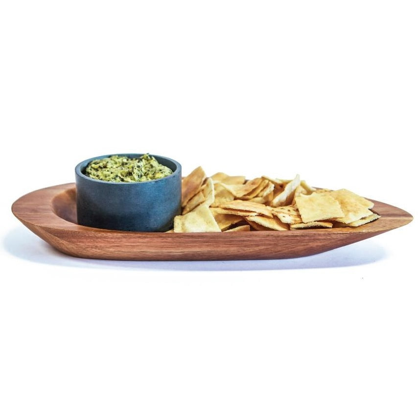 SPARQ Acaciawood Chip/Dip Platter with Soapstone Bowl #STK089B / #BWB089B