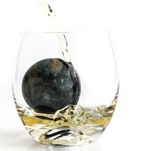 Whiskey tumbler with soapstone whiskey sphere set #SSG135 / #SHR135