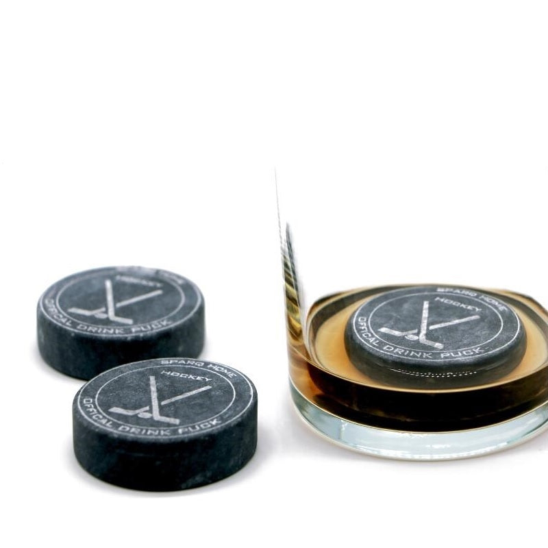 Whiskey Rocks, Hockey Pucks Chiller - Set of 3 #SHR139, Whiskey Chilling Stones, Unique Gift Set For Hockey Fans - Bar Accessories - BUY 3 GET 15% OFF