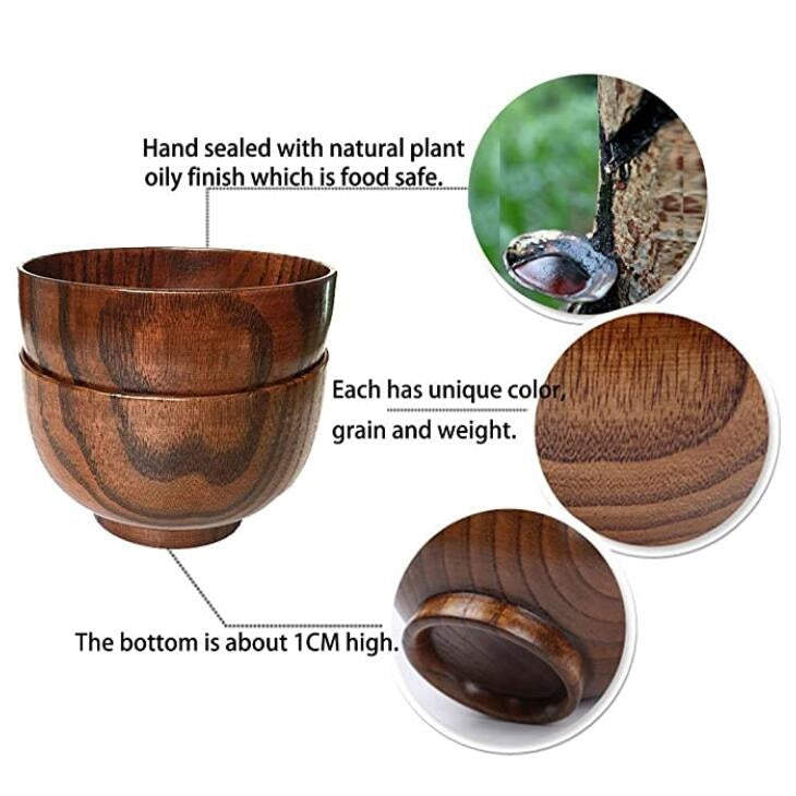 Jujube wood Individual Bowl, 4.5 inch, Set of 4 #BWB215