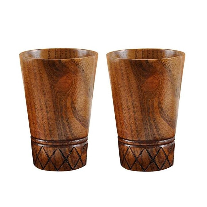 SPARQ Handmade Wood Cup, Set of 2 or 4, #BWB231