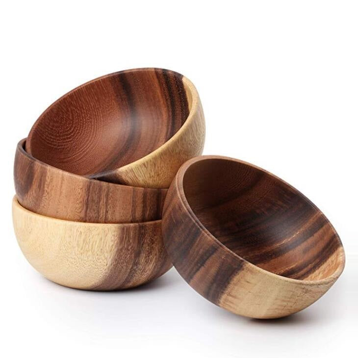 Acacia Wood Individual Bowl 6.3 inches, Set of 4 #BWB210