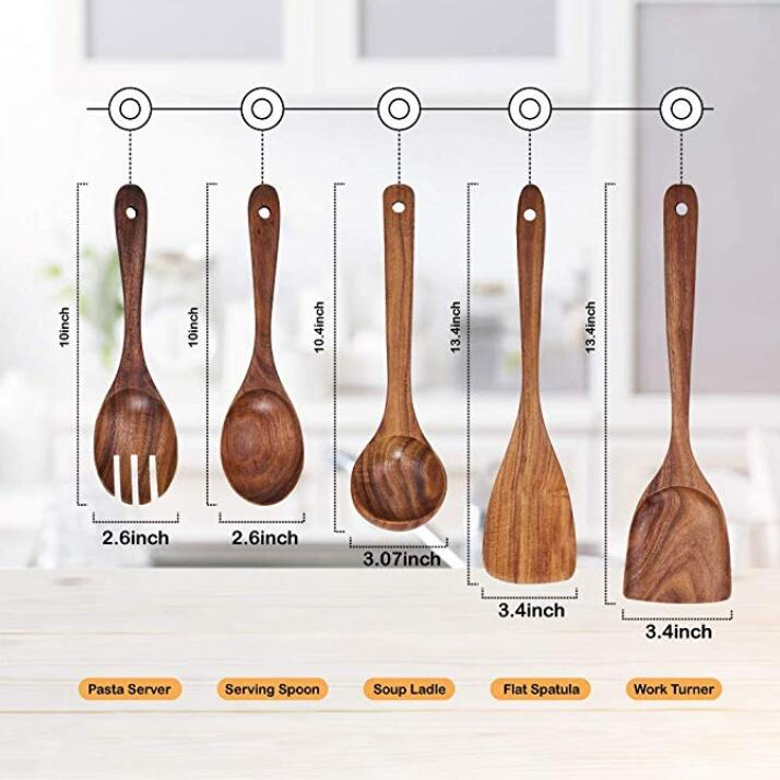 SPARQ Wooden Cooking Utensils Set, Set of 5 #BWC223