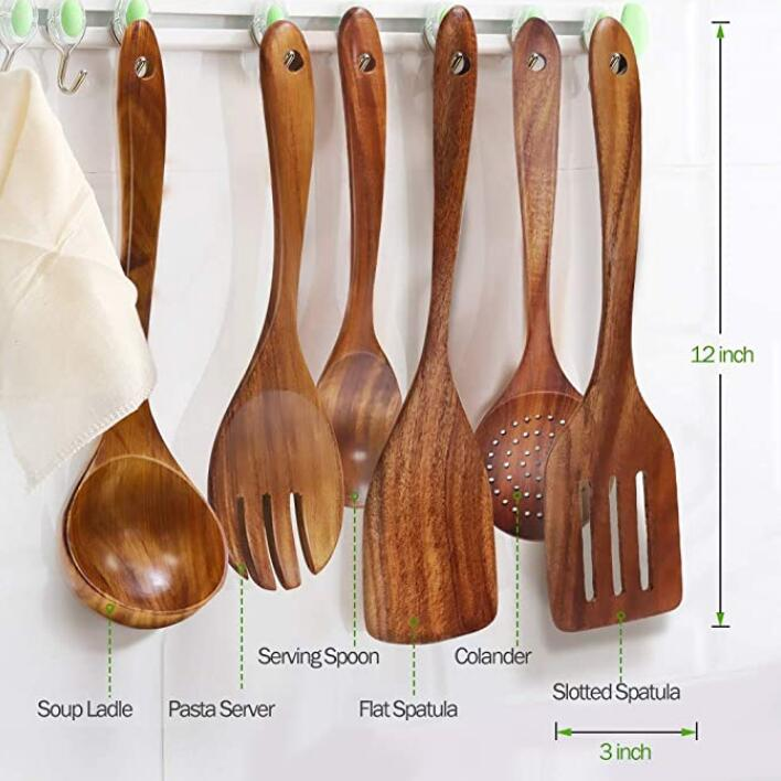 SPARQ Wooden Cooking Utensils Set, Set of 6 #BWC224