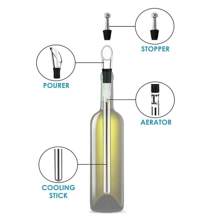 Wine Bottle Chiller Stick (with Pourer, Aerator and Stopper) #SHR120 / #BAR120