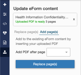 eForm add pages