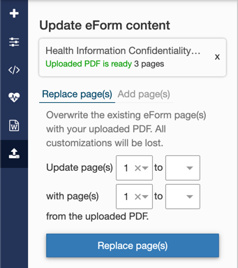 eForm Replace pages