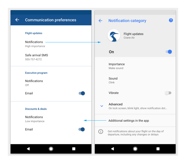 Android conventional settings design inspiration