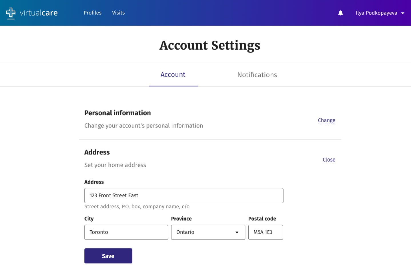 Virtual Care Account Settings - Address