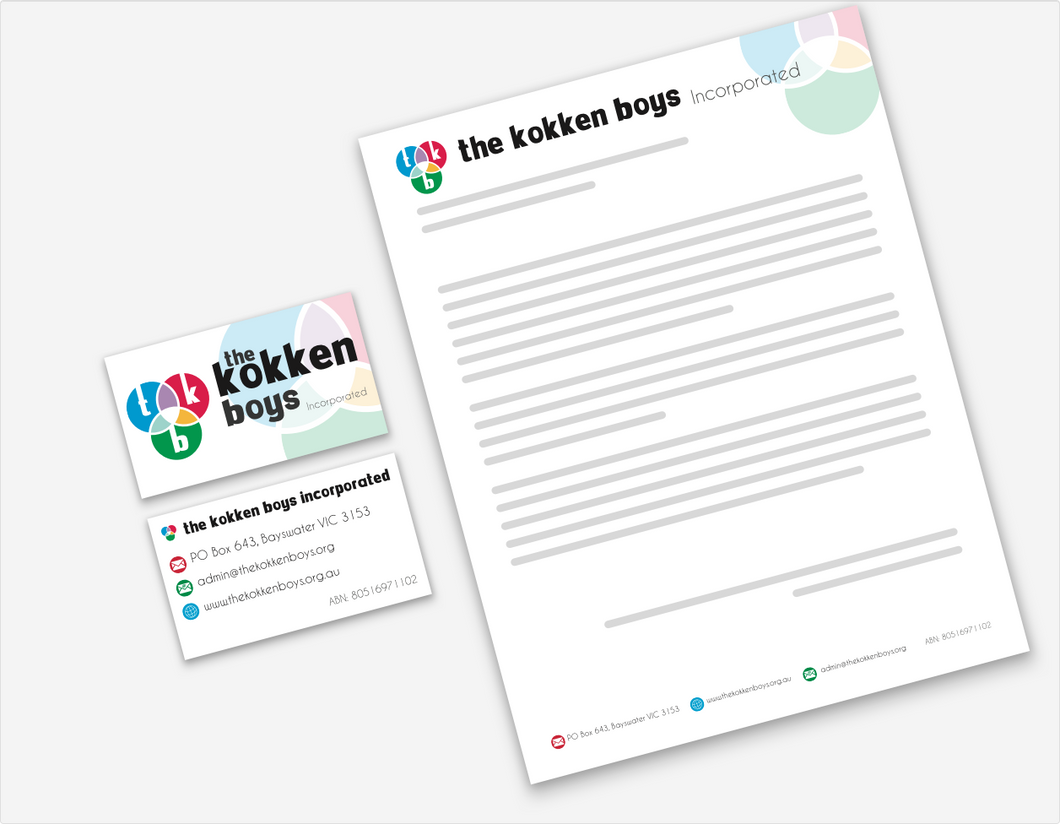 Branding, business cards and letterhead for The Kokken Boys