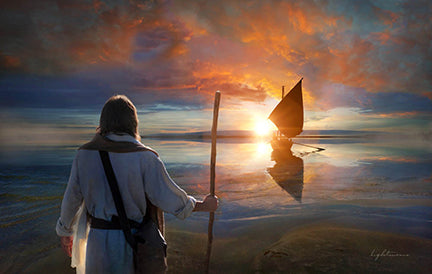 Christ with staff stands on shoreline looking over water at both in sunset